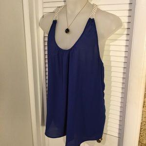Annabelle 3X blue chiffon blouse w/ pearls…